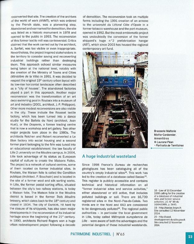 Revue Patrimoine Industriel - n°65 - Décembre 2015